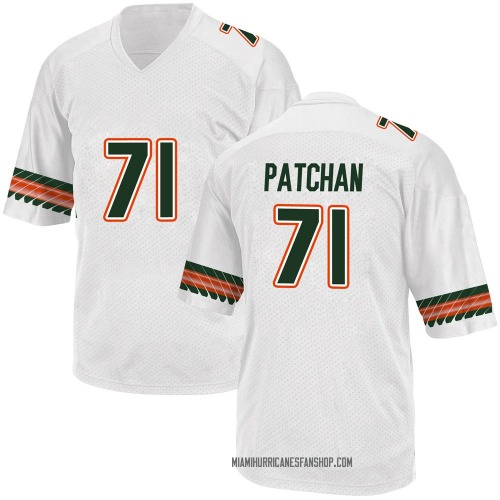 Youth Adidas Scott Patchan Miami Hurricanes Game White Alternate College Jersey