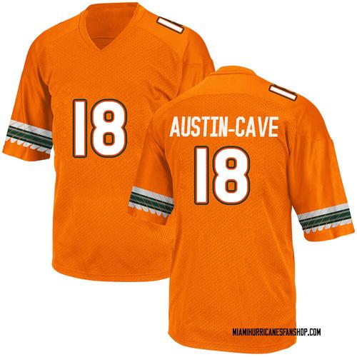 Youth Adidas Tirek Austin-Cave Miami Hurricanes Game Orange Alternate College Jersey