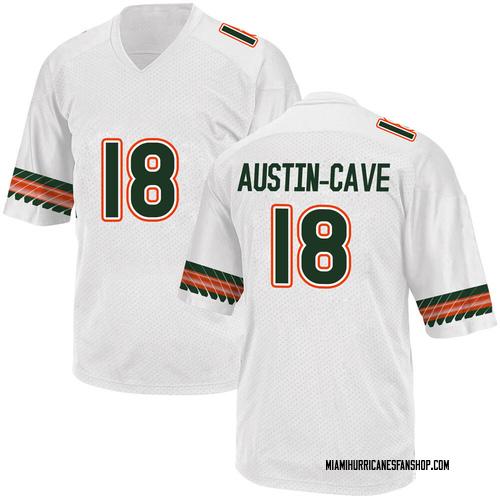 Youth Adidas Tirek Austin-Cave Miami Hurricanes Game White Alternate College Jersey