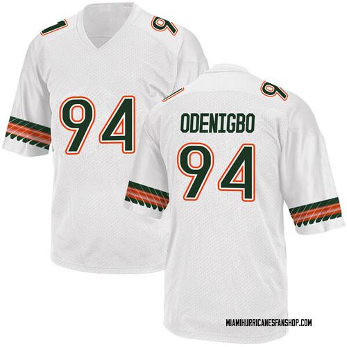 Youth Adidas Tito Odenigbo Miami Hurricanes Game White Alternate College Jersey