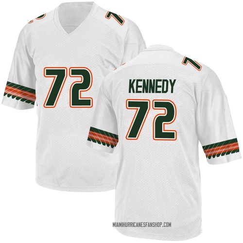 Youth Adidas Tommy Kennedy Miami Hurricanes Game White Alternate College Jersey