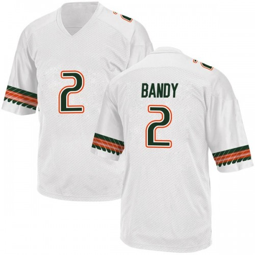Youth Adidas Trajan Bandy Miami Hurricanes Game White Alternate College Jersey