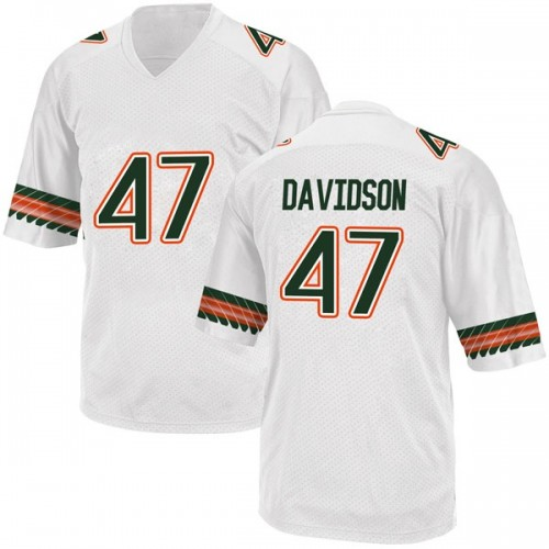 Youth Adidas Turner Davidson Miami Hurricanes Game White Alternate College Jersey