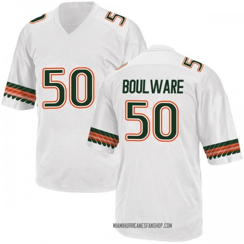 Youth Adidas Venzell Boulware Miami Hurricanes Replica White Alternate College Jersey