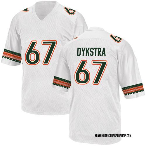 Youth Adidas Zach Dykstra Miami Hurricanes Game White Alternate College Jersey