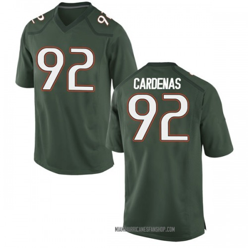 Youth Nike Alejandro Cardenas Miami Hurricanes Game Green Alternate College Jersey