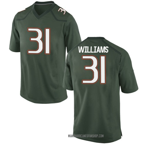 Youth Nike Avantae Williams Miami Hurricanes Game Green Alternate College Jersey