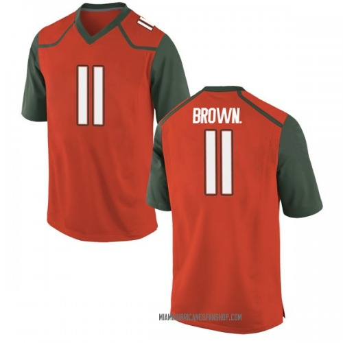 Youth Nike Bruce Brown Jr. Miami Hurricanes Game Orange College Jersey