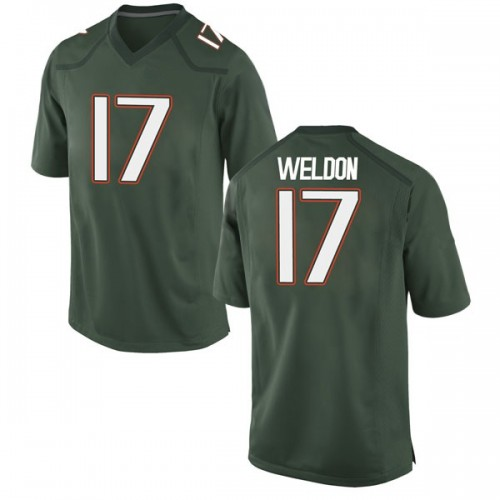Youth Nike Cade Weldon Miami Hurricanes Game Green Alternate College Jersey