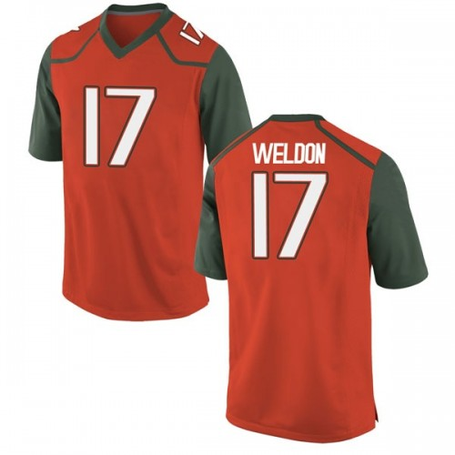 Youth Nike Cade Weldon Miami Hurricanes Replica Orange College Jersey