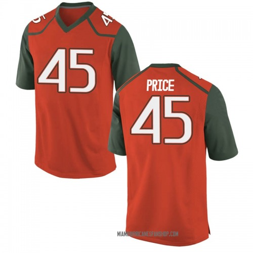 Youth Nike Camden Price Miami Hurricanes Game Orange College Jersey
