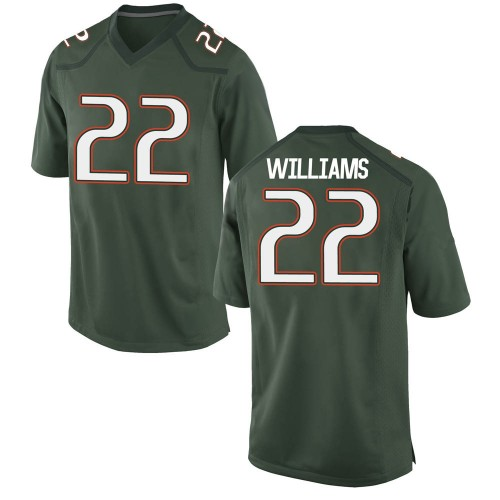 Youth Nike Cameron Williams Miami Hurricanes Game Green Alternate College Jersey