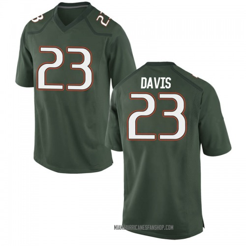 Youth Nike Camron Davis Miami Hurricanes Game Green Alternate College Jersey
