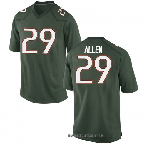 Youth Nike Chad Allen Miami Hurricanes Game Green Alternate College Jersey