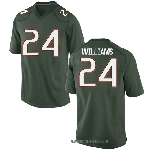 Youth Nike Christian Williams Miami Hurricanes Game Green Alternate College Jersey