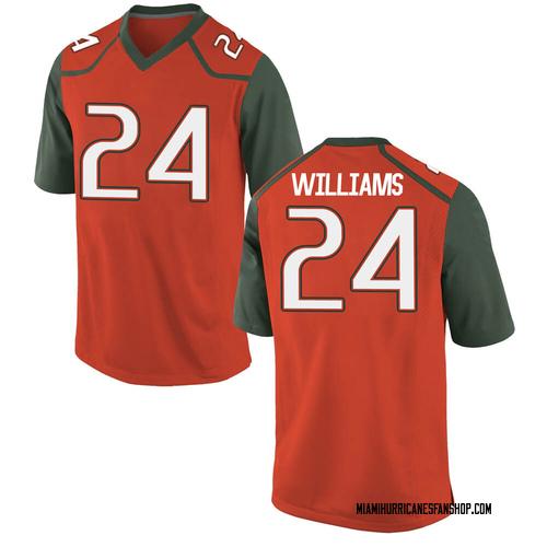 Youth Nike Christian Williams Miami Hurricanes Game Orange College Jersey