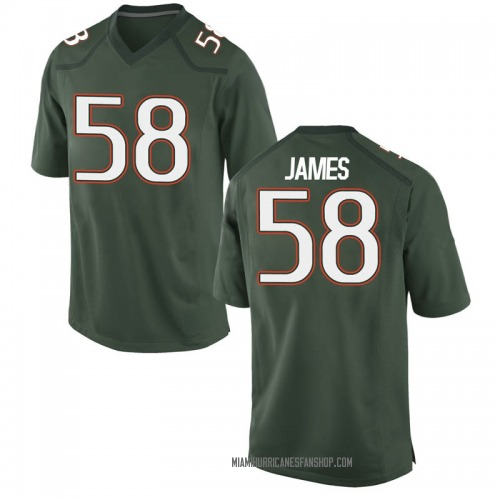 Youth Nike Clay James Miami Hurricanes Game Green Alternate College Jersey