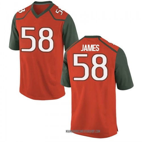 Youth Nike Clay James Miami Hurricanes Game Orange College Jersey