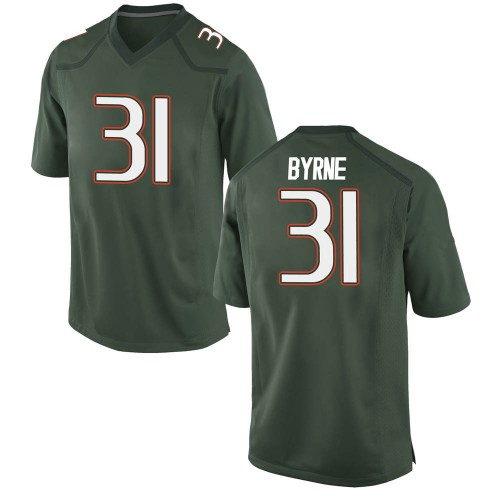 Youth Nike Connor Byrne Miami Hurricanes Game Green Alternate College Jersey