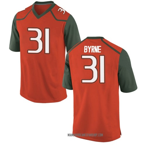 Youth Nike Connor Byrne Miami Hurricanes Game Orange College Jersey