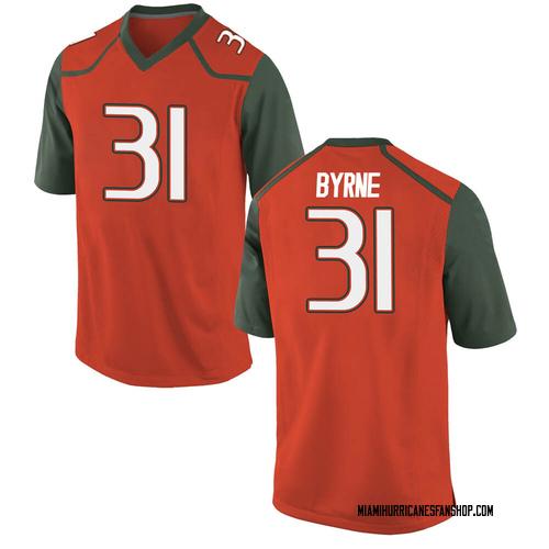 Youth Nike Connor Byrne Miami Hurricanes Replica Orange College Jersey