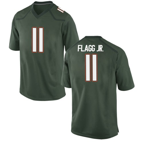 Youth Nike Corey Flagg Jr. Miami Hurricanes Game Green Alternate College Jersey