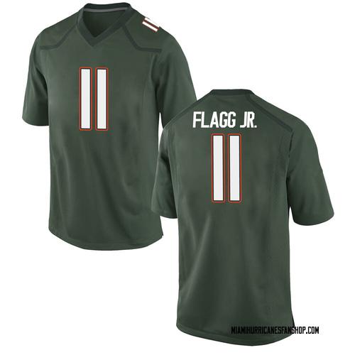 Youth Nike Corey Flagg Jr. Miami Hurricanes Replica Green Alternate College Jersey