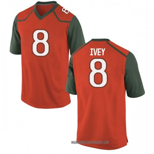 Youth Nike DJ Ivey Miami Hurricanes Game Orange College Jersey