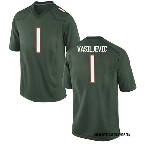 Youth Nike Dejan Vasiljevic Miami Hurricanes Game Green Alternate College Jersey