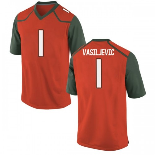 Youth Nike Dejan Vasiljevic Miami Hurricanes Replica Orange College Jersey