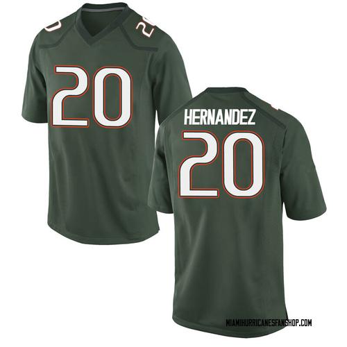 Youth Nike Dewan Hernandez Miami Hurricanes Game Green Alternate College Jersey