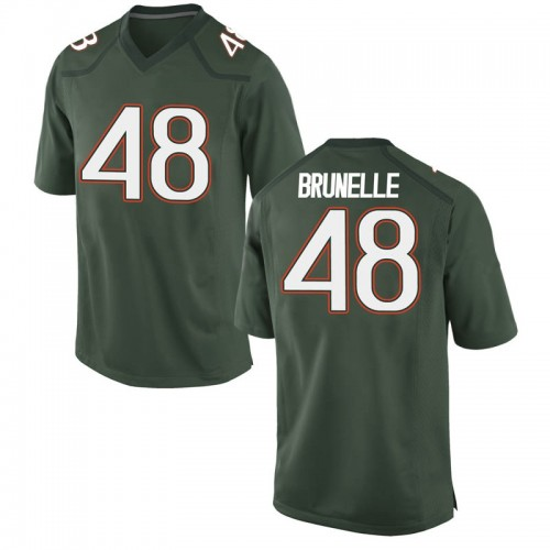 Youth Nike Evan Brunelle Miami Hurricanes Game Green Alternate College Jersey