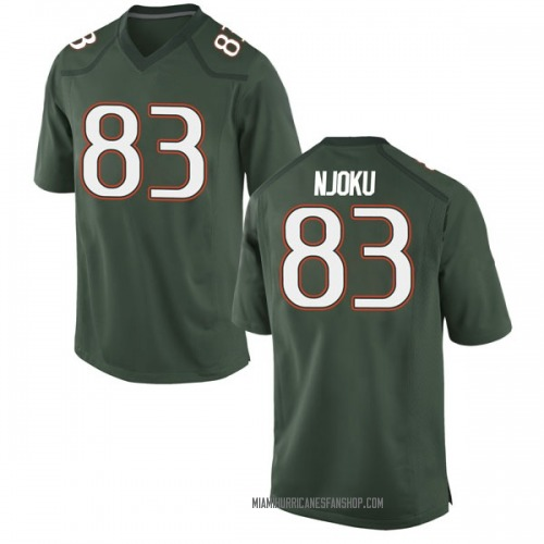 Youth Nike Evidence Njoku Miami Hurricanes Game Green Alternate College Jersey