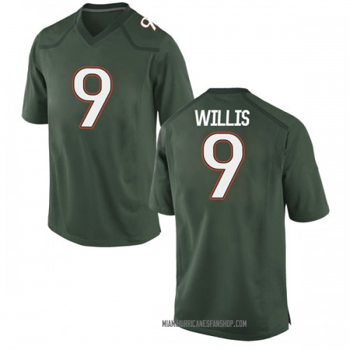 Youth Nike Gerald Willis III Miami Hurricanes Game Green Alternate College Jersey