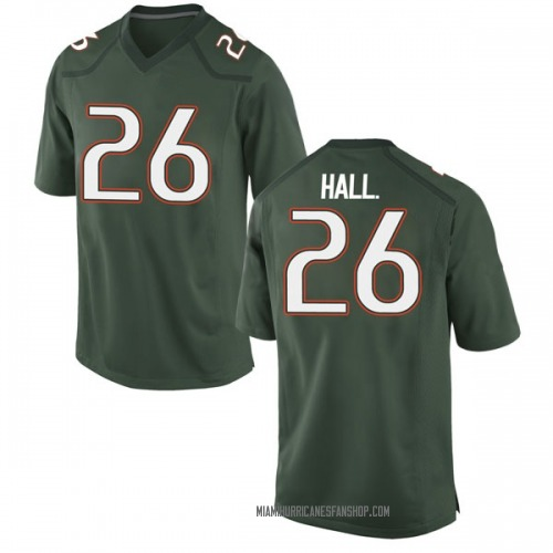 Youth Nike Gurvan Hall Jr. Miami Hurricanes Game Green Alternate College Jersey
