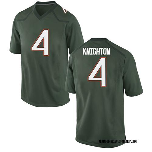 Youth Nike Jaylan Knighton Miami Hurricanes Game Green Alternate College Jersey