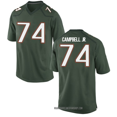 Youth Nike John Campbell Miami Hurricanes Game Green Alternate College Jersey