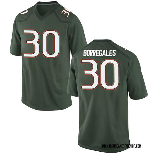 Youth Nike Jose Borregales Miami Hurricanes Game Green Alternate College Jersey
