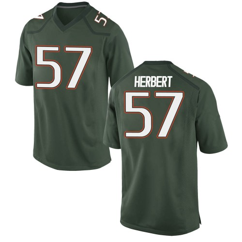 Youth Nike Kai-Leon Herbert Miami Hurricanes Game Green Alternate College Jersey