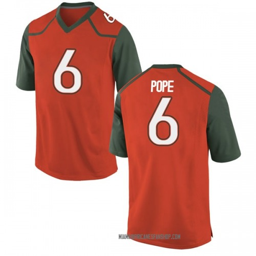 Youth Nike Mark Pope Miami Hurricanes Game Orange College Jersey