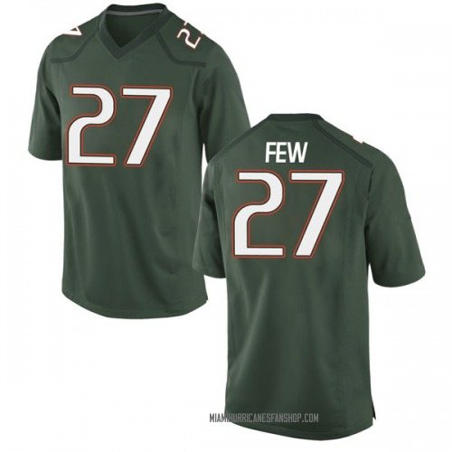 Youth Nike Marshall Few Miami Hurricanes Game Green Alternate College Jersey