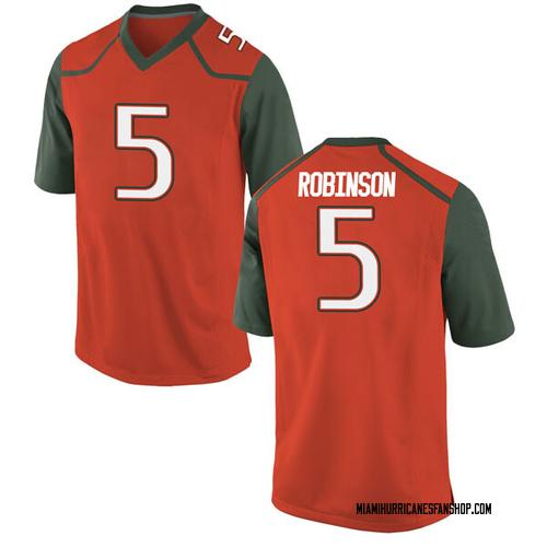 Youth Nike Mike Robinson Miami Hurricanes Game Orange College Jersey