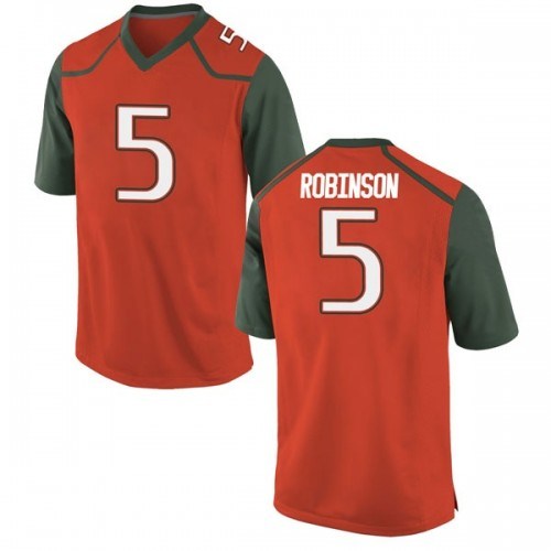 Youth Nike Mike Robinson Miami Hurricanes Replica Orange College Jersey