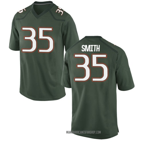 Youth Nike Mike Smith Miami Hurricanes Game Green Alternate College Jersey