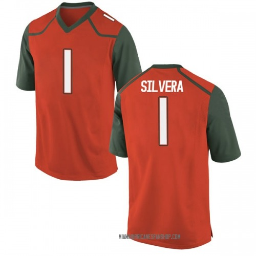 Youth Nike Nesta Jade Silvera Miami Hurricanes Replica Orange College Jersey