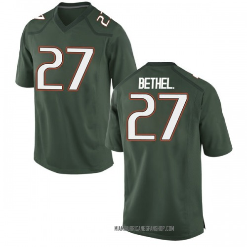 Youth Nike Nigel Bethel Jr. Miami Hurricanes Game Green Alternate College Jersey