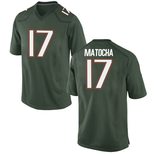Youth Nike Peyton Matocha Miami Hurricanes Game Green Alternate College Jersey