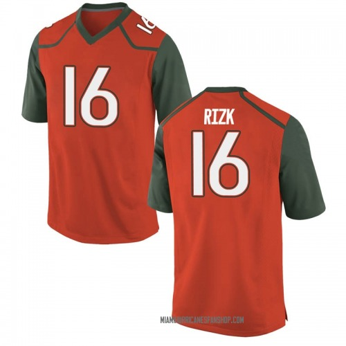 Youth Nike Ryan Rizk Miami Hurricanes Game Orange College Jersey