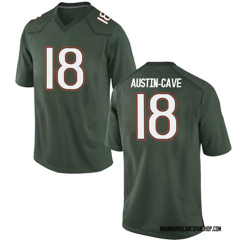 Youth Nike Tirek Austin-Cave Miami Hurricanes Game Green Alternate College Jersey