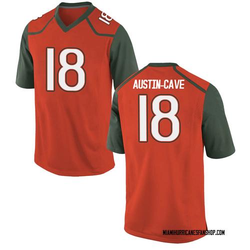 Youth Nike Tirek Austin-Cave Miami Hurricanes Game Orange College Jersey